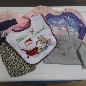 Lot Of Baby Girl Clothes & Bibs 3M to 6-9M